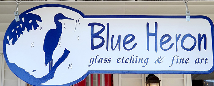 Blue Heron Glass Etching